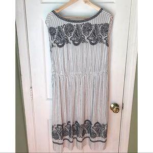 Loft Embroidered Stripe Midi Dress